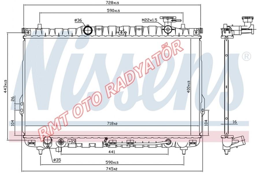 Hyundai Santa Fe Benzinli Motor Su Radyatörü Otomatik 2001 2006 Model Arası 25310-26050