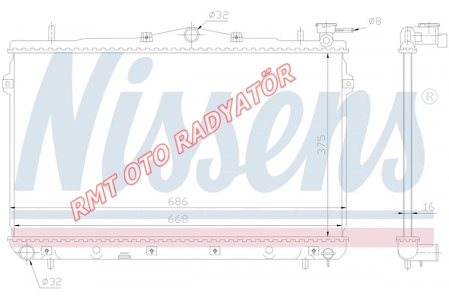 Hyundai Elantra Benzinli Motor Su Radyatörü Manuel 1995 2000 Model  25310-29000